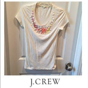 J. Crew Cream Embellished Neckline Tee